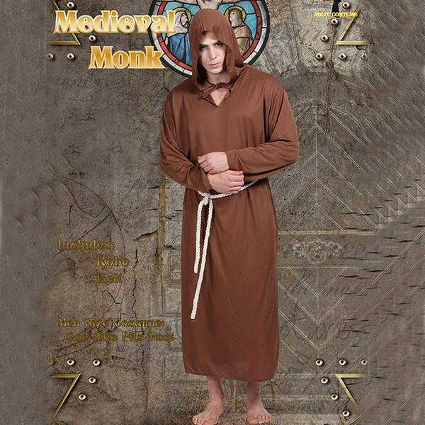 Partido do dia das bruxas Cosplay Traje Monge Robes Capa Manto Homens Adereços de Palco Ternos de Desempenho Para Homens Traje Do Monge