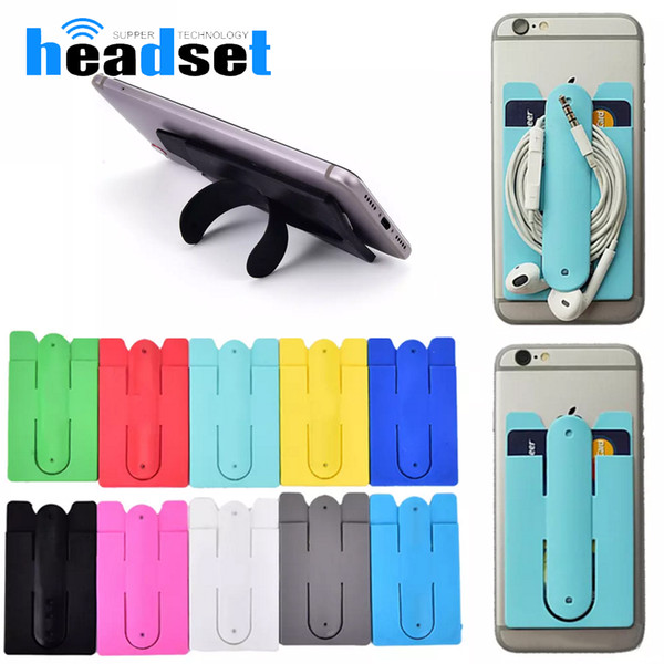 2 in 1 Universal Phone Card Holder case Adhesive Stick id Credit Card Holder Pocket Pouch with Phone Stand for cellphone