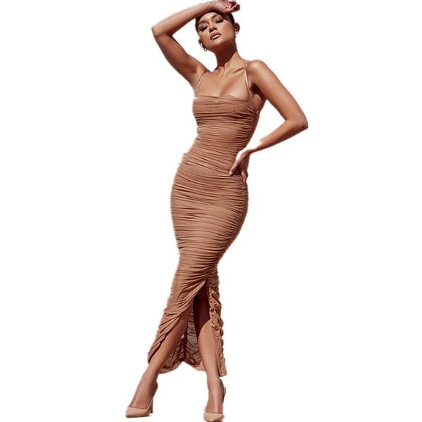 2018 Nuovo vestito da estate sexy abiti da sera da sera senza maniche donne scava fuori a metà polpaccio pista bodycon vestito dalla fasciatura vestidos vestito dalla cinghia della fessura