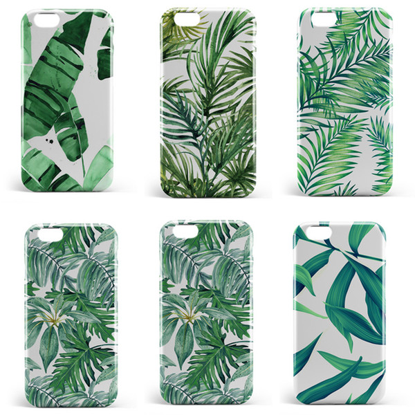 Mobile phone shell CASE fashion leaf pattern fresh Korean art mobile phone shell iphone X 8 7 6 5 Fine mobile phone shell cute style 113