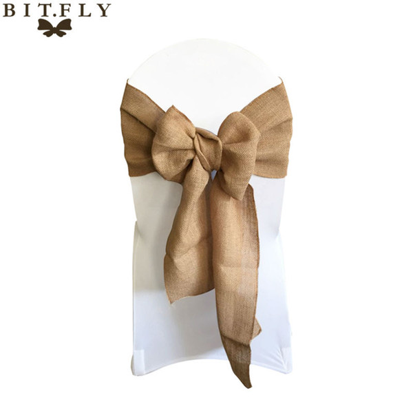 """bow barrette 7""""*108"""" Naturally Elegant Burlap Chair Sashes Jute Chair Tie Bow for Rustic Wedding Decoration Home Textiles with high quality"""