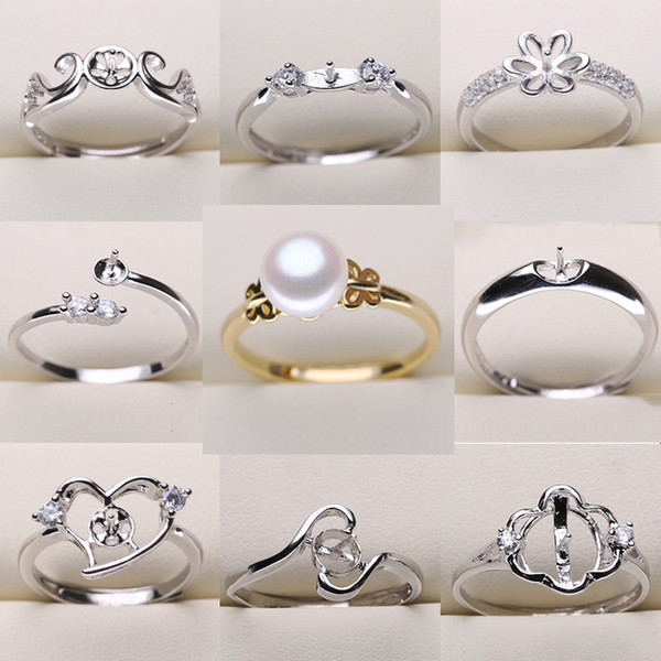 top popular DIY Pearl Ring Settings Sliver Plated Rings Settings 9 Styles DIY Rings Adjustable size Jewelry Settings Christmas Statement Jewelry 2019