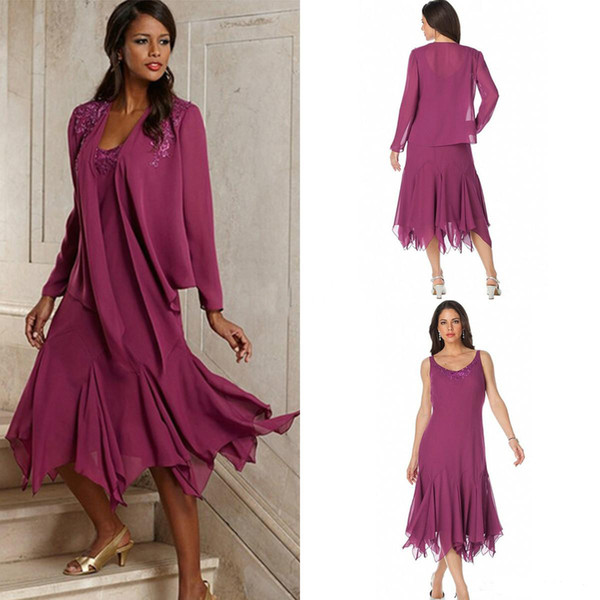 Latest Purple 2 piece Chiffon mother of the bride dresses Tea Length Groom Wear Pleat Wedding Guest Dresses With Jacket