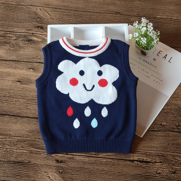 2018 Autumn Navy Blue Vest Sweater Baby Girls O Neck Gray Waistcoat Baby Girls Outerwear Clothes 6 9 12 18 24 Month 185073