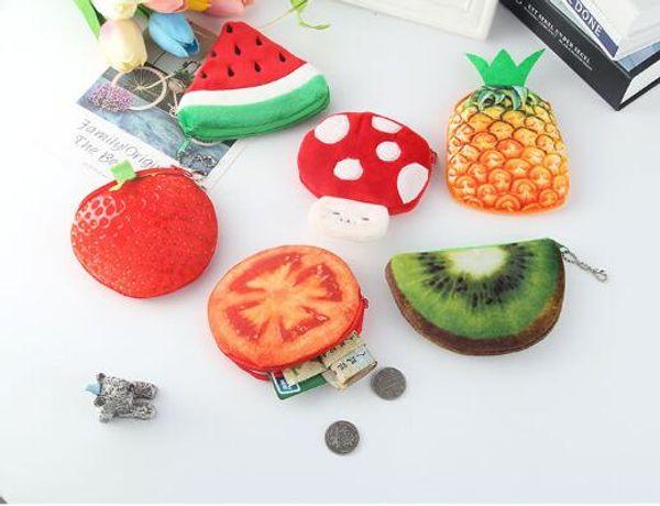 Fruits Plush Coin Purse Children Zip Small Change Purse Wallet Women Pouch Money Bag Girl Mini Short Coin Holder Wallet YH1303