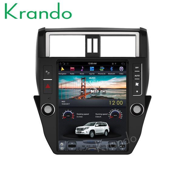 "Krando Android 6.0 12.1"" Tesla big screen car dvd radio player for Toyota Prado 150 2014-2017 gps navigation multimedia with bluetooth"