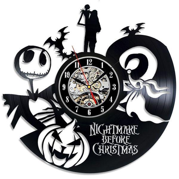 Christmas Eve Nightmare Vinyl Uhr Black Gum Record Thema Wanduhren Home Decor 3D Hängende Uhren Diy Geschenk 50hd jj