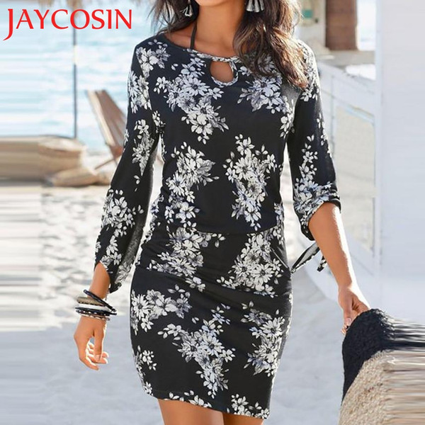 2018 dress Women Long Sleeve Beach Printed Sexy Bodycon Party Cocktail Mini Dres Dropshipping July 30