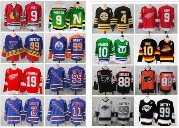 New York Rangers Wayne Gretzky CCM Hockey St. Louis Blues Los Angeles Könige Vintage Eric Lindros 10 Pawel Bure Mike Modano Borry Orr Trikots