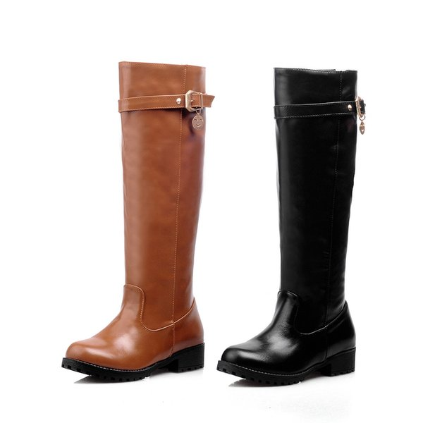 Free Shipping Womens Classic Army Long Knee Round Toe Zip Flat Plain Martin Solid Buckle Cheap Boots Brown Black Color Size 35-43 7355