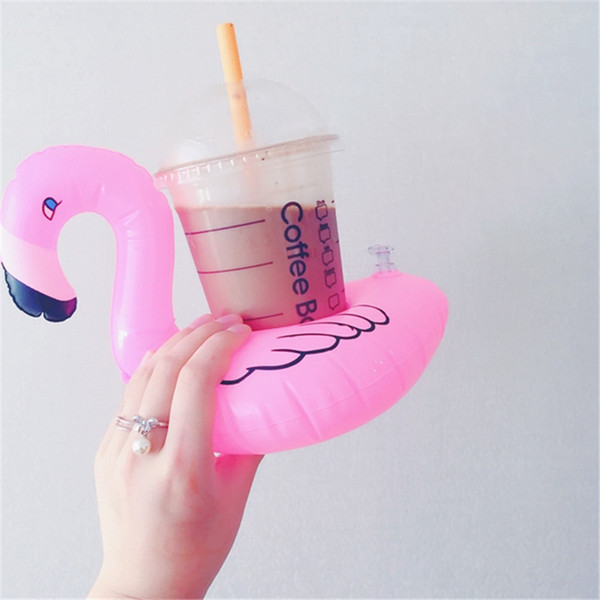 INS PVC Inflatable Flamingo Drinks Cup Holder Pool cartoon Floats Floating Drink cup stand ring Bar Coasters Children bath toy swimming