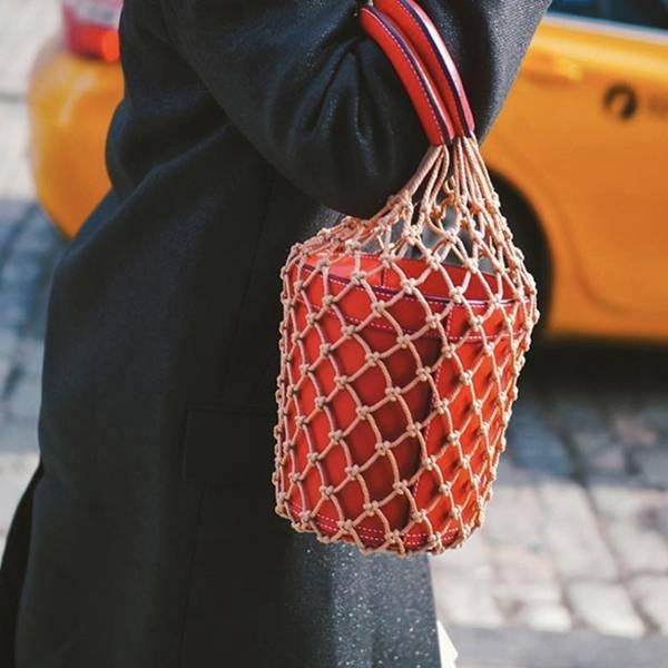 texu popular hollow net bags chic women bucket tote bag barrel shaped lady vintage handbags leather composite bag