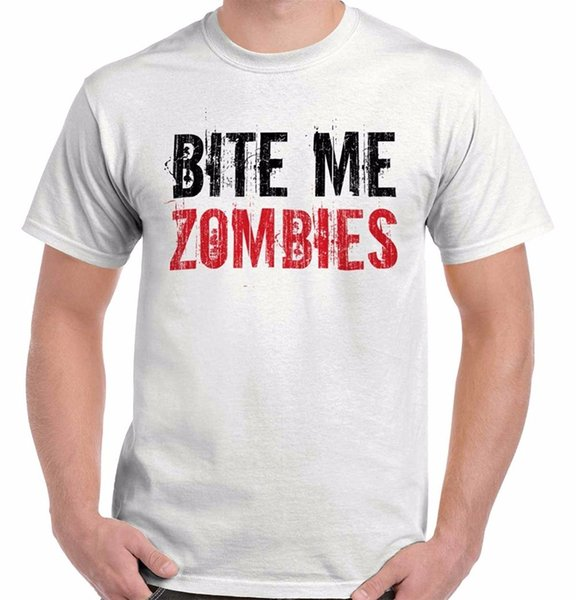 Work Shirts O-Neck Bite Me Zombie Sarcastic Shirt Funny Walking Undead Dead Gift T-Shirt Tee Short Sleeve Tall T Shirt For Men