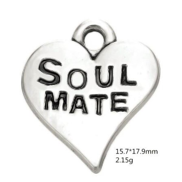 Hand-made Soul Mate Engraved On swirl Heart Charms DIY jewelry for Lovers/best friends soulmate special gifts
