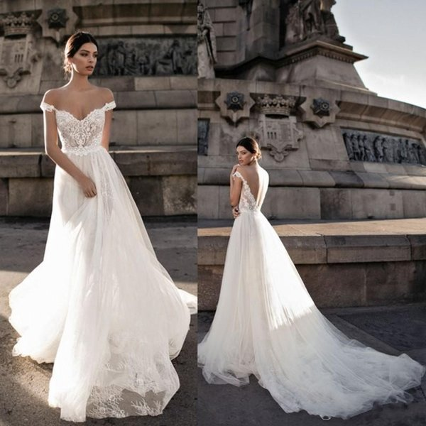 Gali Karten 2018 A line Wedding Dresses Sheer Backless Bohemia Sexy Off The Shoulder Lace Appliqued Sweep Train Made Bride Gowns