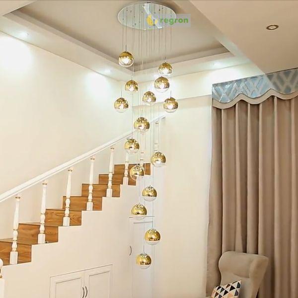 Moderno Lámpara LED grande y larga Colgante de oro / plata Bola de cristal Luces colgantes de techo con accesorio de luz de 24 bolas avize Iluminación para el hogar