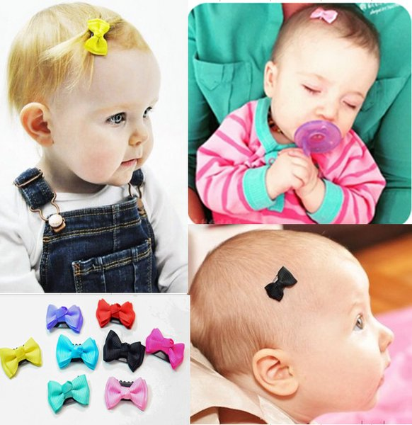 Candy color Baby Mini Small Bow Hair Clips Safety Hair pins barrettes for children girls Kids Hair Accessories