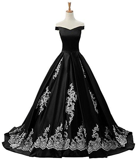 2018 Black And White Vintage Wedding Dress Cheap Off the shoulder with Short Sleeves A Line Applique Lace Corset Back Bridal Gowns