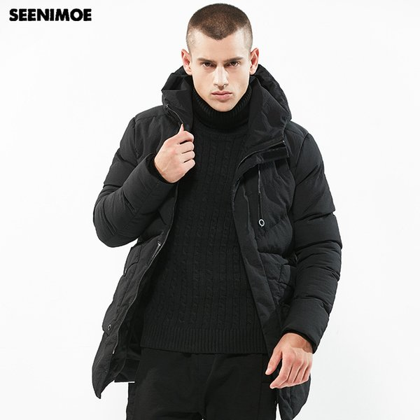 Seenimoe 2018 Winter Parkas for Man Solid Color European Mens Long Brand Clothes Hooded Thicken M-3XL Windproof outwear Jacket