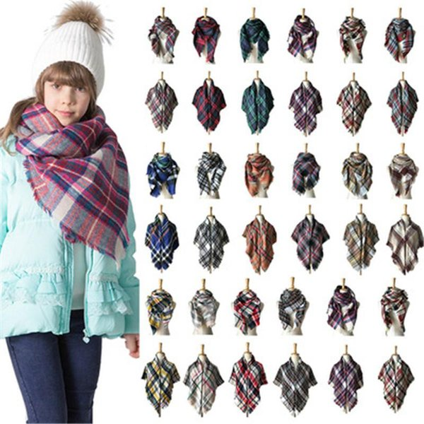 kids Children's Winter Plaid Scarf Baby Colorful Cashmere Shawl Scarves and Wraps Brand winter Square warm Scarf 100*100cm MMA639 100pcs