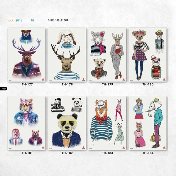 cute kawaii tattoos for men women animal panda tiger deer fox head people body pattern arm tatoos papers face tattoo stickers