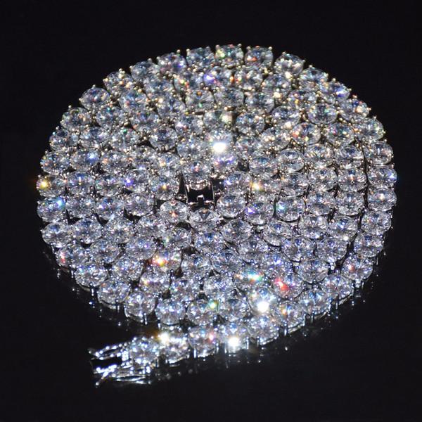Diamant Tennis Kette Halskette Hip Hop Schmuck 4mm Iced Out Zirkon 1 Row Gold Silber Kupfer Material Männer CZ Halskette Link 24 Zoll