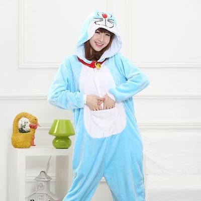 Doraemon Hayvan Pijama Unisex Yetişkin Pijama Fanila Pijama Kış Konfeksiyon Sevimli Karikatür Hayvan Onesies Pijama Tulumlar