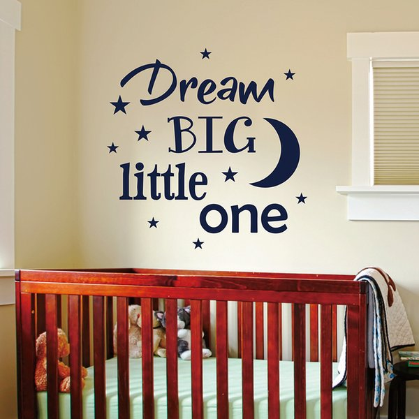 Dream Big Little One Wall Decal, Baby Nursery Quote Wall Sticker, Kids Room Decoration Vinyl Wall Decor Q226