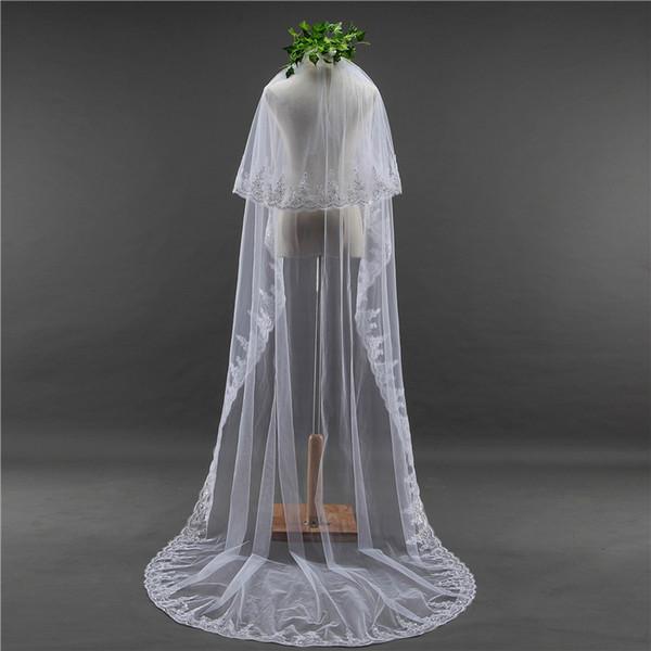 2018 neuf de haute qualité à long Blanc Ivoire mariage Veil dentelle perlée Appliques de mariée Accessoires de mariage Voiles Mariée Pour Robes de mariée QC1192