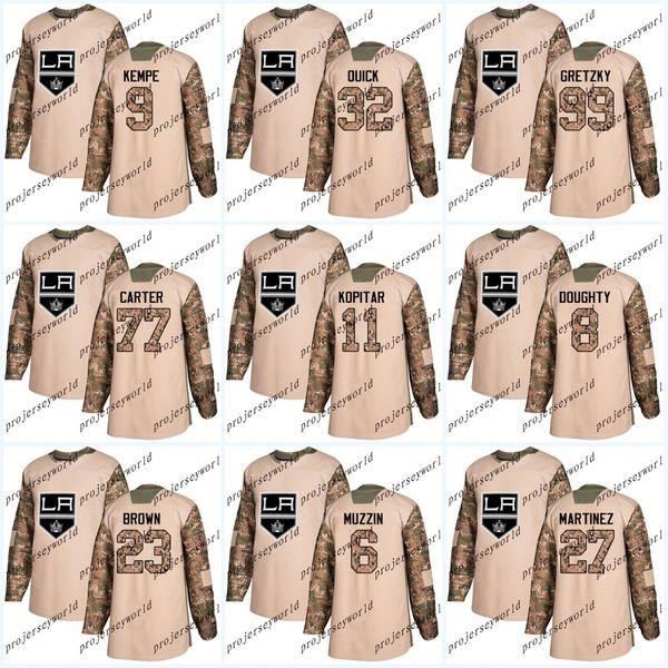 Juventud 2017 Camo Veterans Day Los Angeles Kings 32 Jonathan Quick 8 Drew Doughty 11 Anze Kopitar Jeff Carter Wayne Gretzky Hockey jerseys