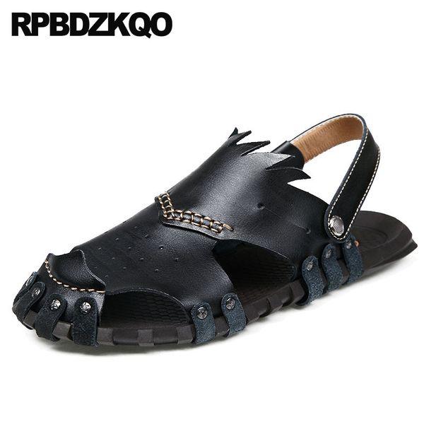 Fechado Toe Sapatos À Prova D 'Água Sneakers Designer Mulas Homens Negros Sandálias De Couro De Verão Praia Chinelos Marrom Slides Deslizamento Em Moda