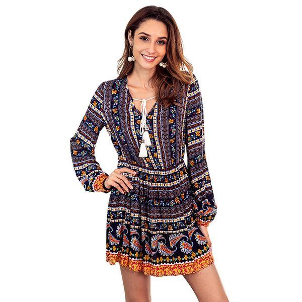 Autumn new cotton retro print dress for women fashion V-neck drawstring long-sleeved national costume drawstr floral dress women's clothing.