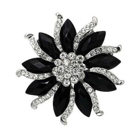 Black and Purple Oval Resin Stones and Crystal Rhinestones Flower Brooch Pins in Silver Color Plated