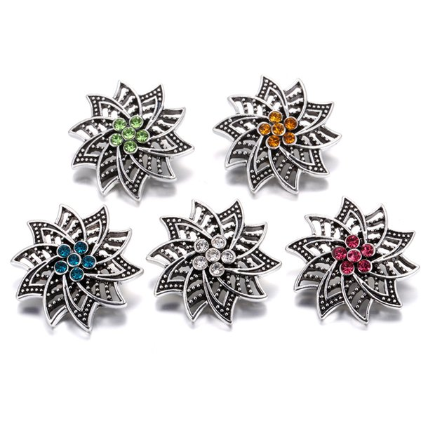 Noosa Snap Jewelry High Quality Vintage Metal Flowers 18mm Snap Button with Rhinestone Fit Noosa Leather Bracelets Necklace Jewelry