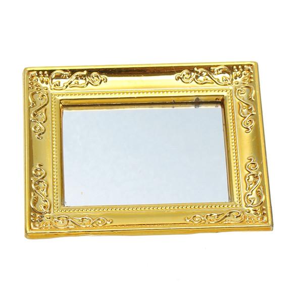 Vente chaude BRICOLAGE 1:12 Miniature Ornement Miroir Maison de Poupée Salle De Bains D'or Miroir Figurines Enfants Jouet Poupée Jouets Cadeaux