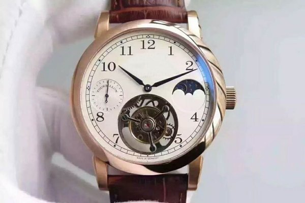 Luxury brand real Manual Tourbillon movement Moon phase Display mens watch Sapphire Crystal Shock-resistant 316L Steel Case man watches