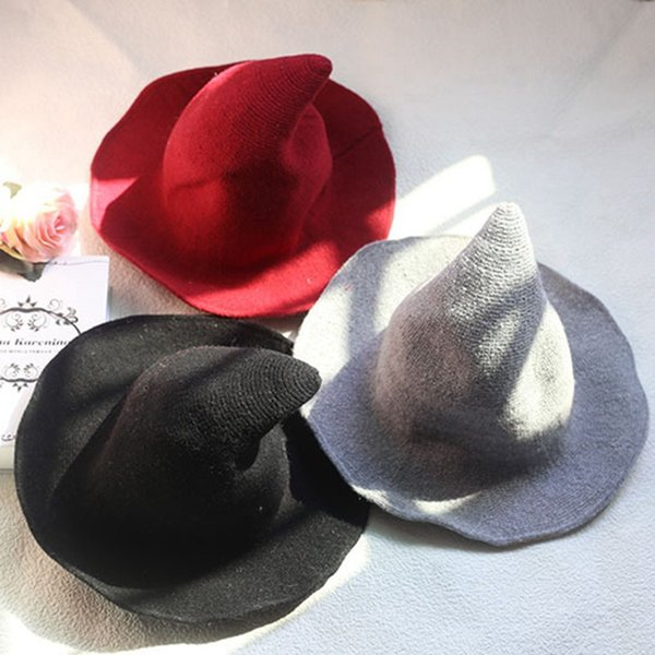 Cappello a punta alta Witch pieghevole Kntting tessuto rosso moda ragazze donne cappelli a tesa larga Halloween Party prop all'ingrosso