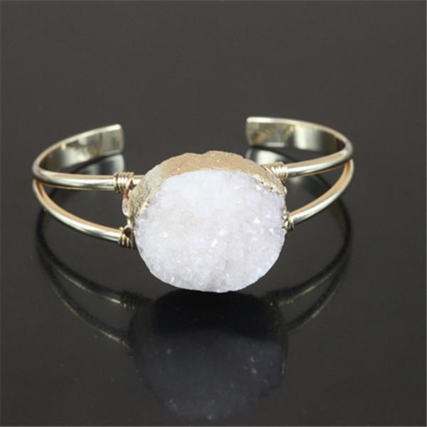 5pcs gold color White Druzy Natural Crystal Quartz Geode Gem Stone Charm cuff open Bangle Bracelet for women fine jewelry