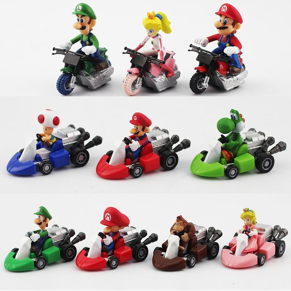 10pcs /Set New Cute Super Mario Bros Kart Pull Back Car Motorcycle Pvc Action Figure Toys Brithday Gift For Children