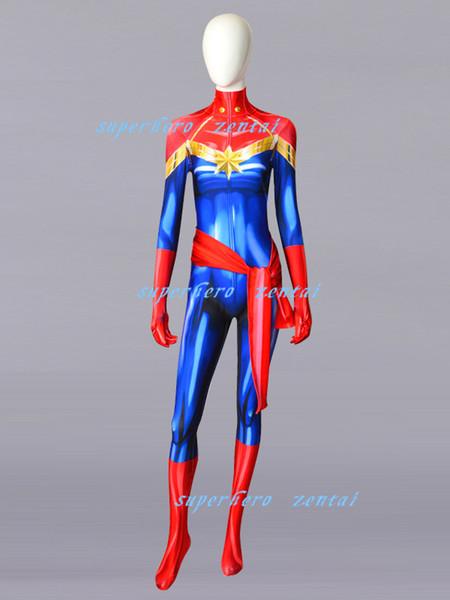 Captain Marvel Carol Danvers Cosplay Costume NEW Spandex Superhero Zentai Bodysuit Jumpsuit Halloween Catsuit Female/Girl/Women