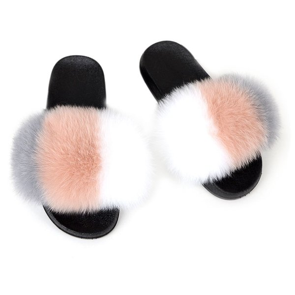 Fashion Fox Fur Lady Slippers Furry Leisure Sandals Home Slippers