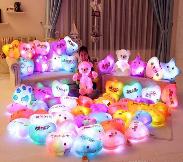 Festival de decoración LED Flash Light Hold almohada cinco estrellas Doll Plush Animals Stuffed Toys 40cm iluminación Regalo regalo de los niños de peluche de peluche de juguete