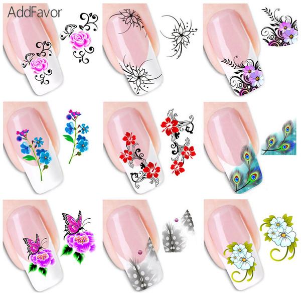 AddFavor 50Pc Nail Sticker Fingernagel Design Aufkleber Schmetterling Blume Nagel Aufkleber Floral Dekoration DIY Kunst Klebefolien