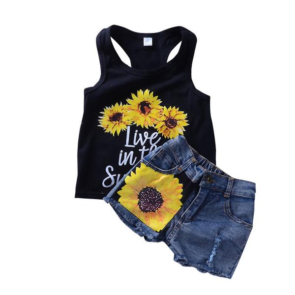 2018 Ins Summer Girls ropa conjuntos trajes girasol carta Tank + denim mini Shorts 2pcs establece al por mayor