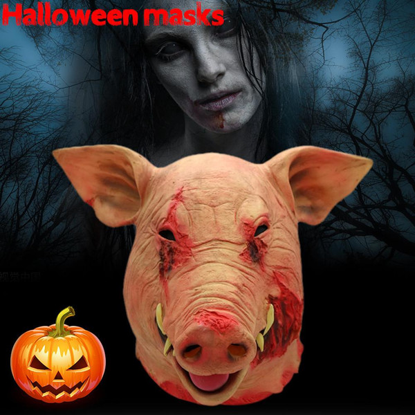 1PC Saw Pig Head Scary Masks Novelty Halloween Mask Caveira Cosplay Costume Latex Festival Supplies