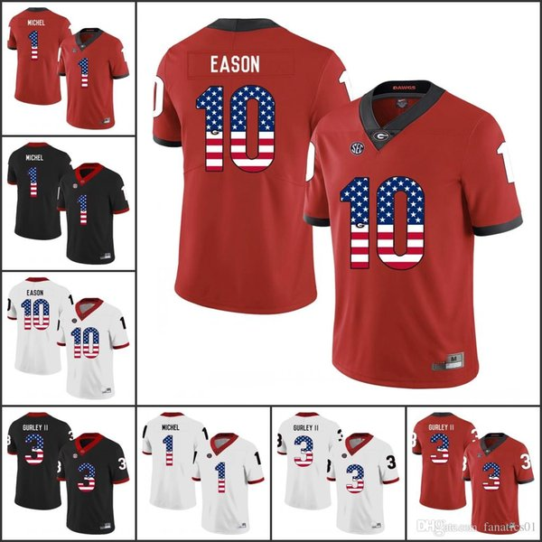 National flag NCAA 2018 Georgia Bulldogs Vintage College Football Jersey Jacob Eason Jake Fromm Nick Chubb Gurley II Swift R.SMITH WALKER