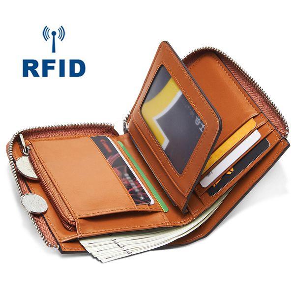 Wholesale RFID Theft Protec Coin Bag zipper men wallets brand mens wallet male money purses Wallets New Design Slim RFID Men Wallet