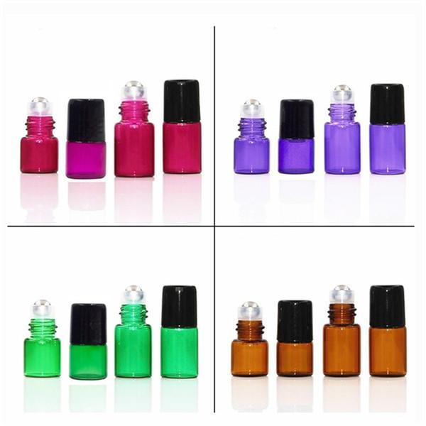1ML 2ML 3ML Aceite esencial de vidrio de ámbar vacío Rollo en frascos de botella con bola de rodillo de metal de acero inoxidable para perfume aromaterapia 030
