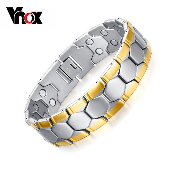 Vnox salud cuidado pulseras brazaletes deporte fútbol diseño joyería de los hombres imán germanio caja de regalo gratis y1891709