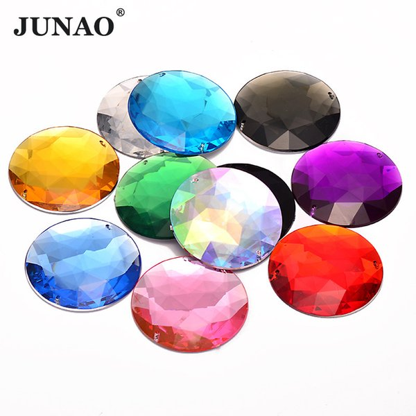 JUNAO 52mm Big Size Sewing Round Clear AB Rhinestones Applique Flatback Large Acrylic Crystal Stone Sew On Scrapbook Beads for Clothes